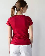 Женская медицинская футболка, бордо, фото 2