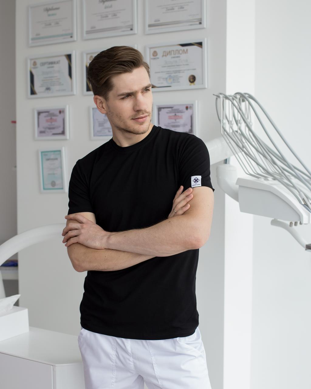 Мужская медицинская футболка, черная