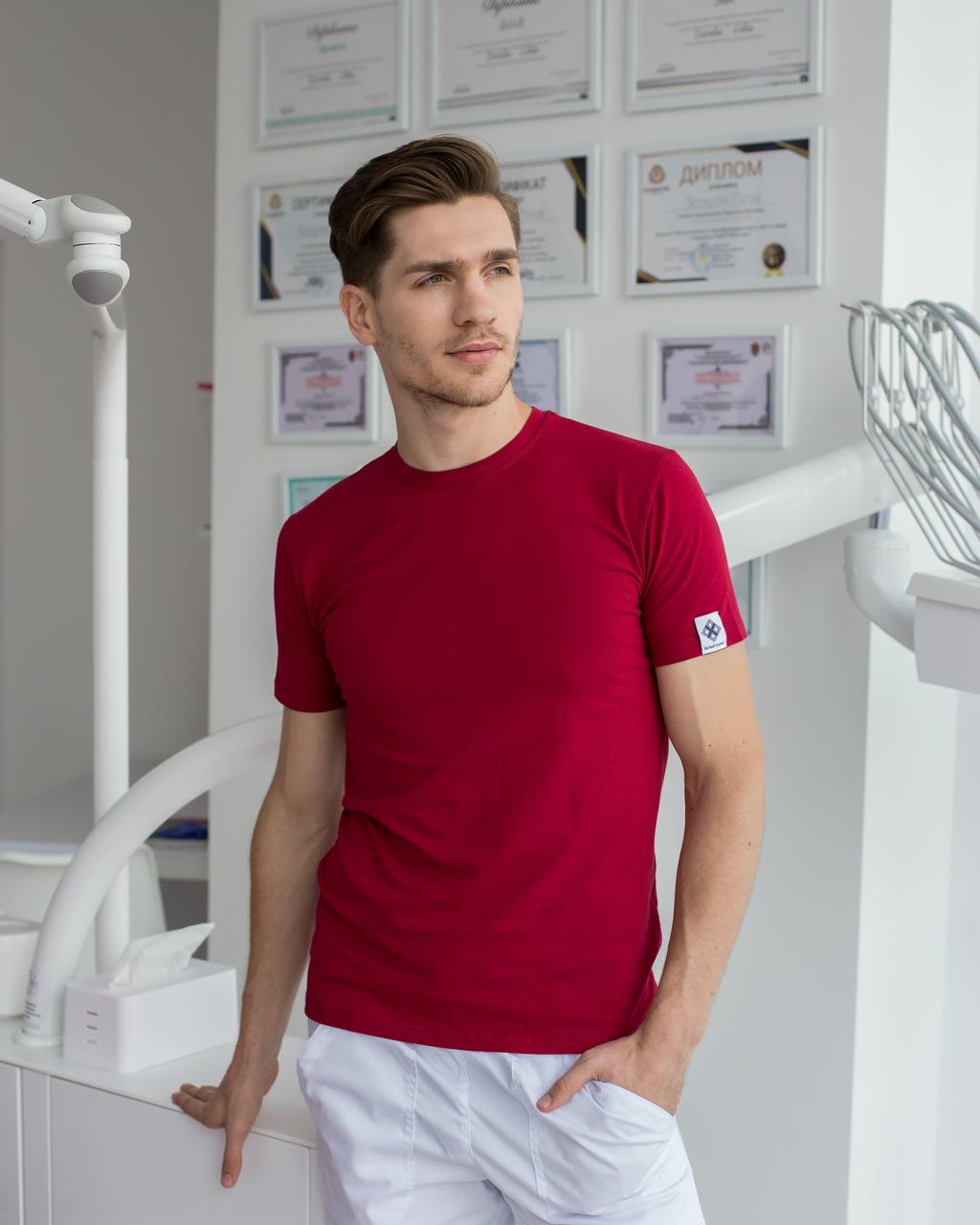 Мужская медицинская футболка, бордо