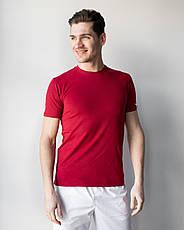 Мужская медицинская футболка, бордо, фото 3