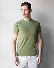 Мужская медицинская футболка, оливка, фото 3