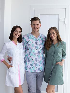 Медицинский халат Оливия белый-розовый, размер 40, 42, фото 2