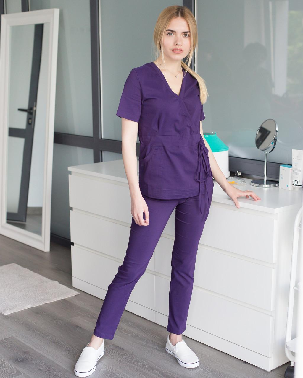 Медицинский костюм Рио фиолетовый, из тонкой ткани