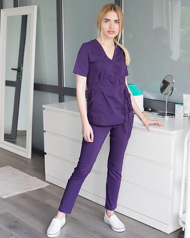 Медицинский костюм Рио фиолетовый, из тонкой ткани, фото 2