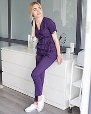 Медицинский костюм Рио фиолетовый, из тонкой ткани, фото 3