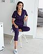 Медицинский костюм Рио фиолетовый, из тонкой ткани, фото 5