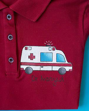 Медичне поло з індивідуальним малюнком ручної роботи, фото 2