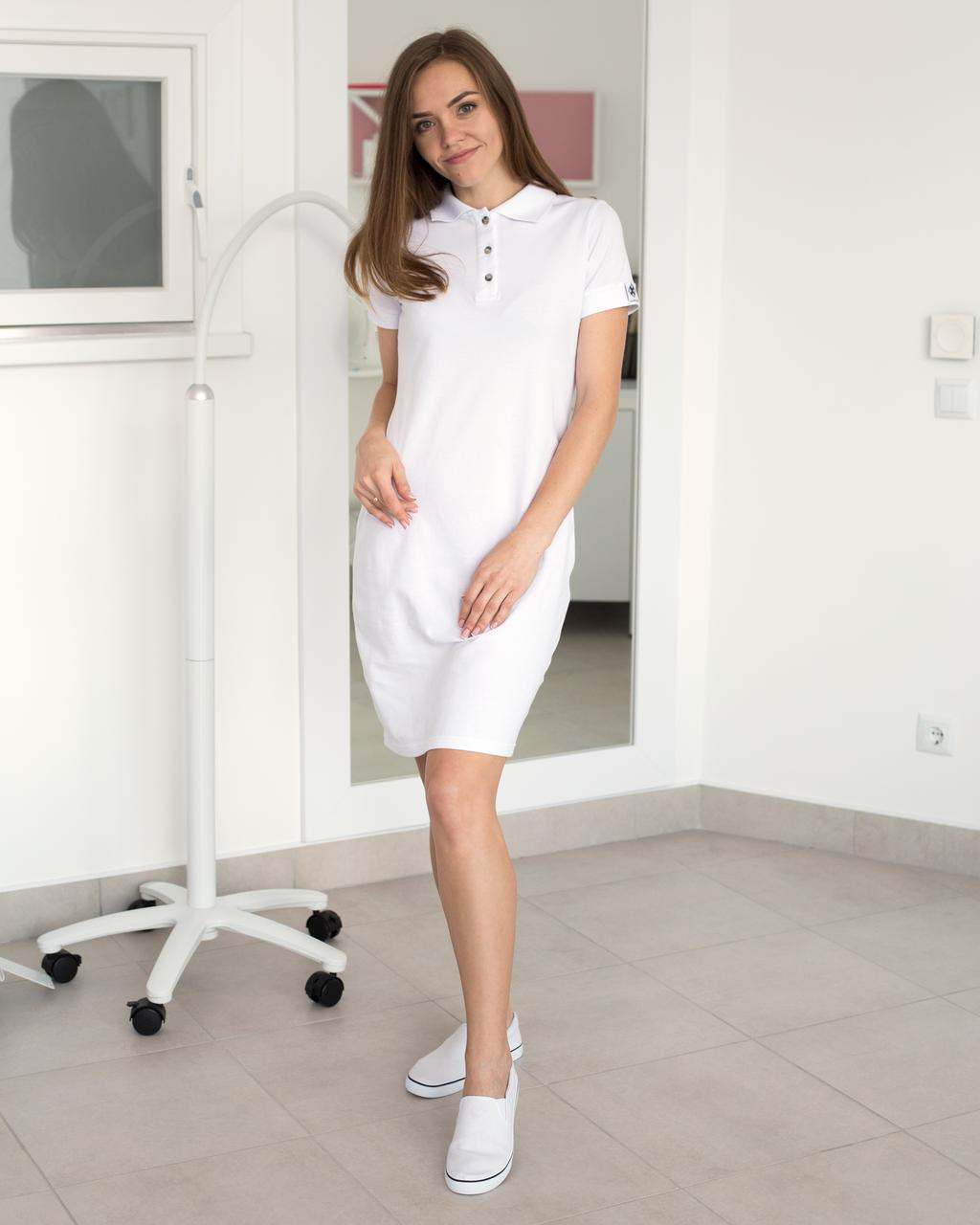 Медицинское платье-поло белое