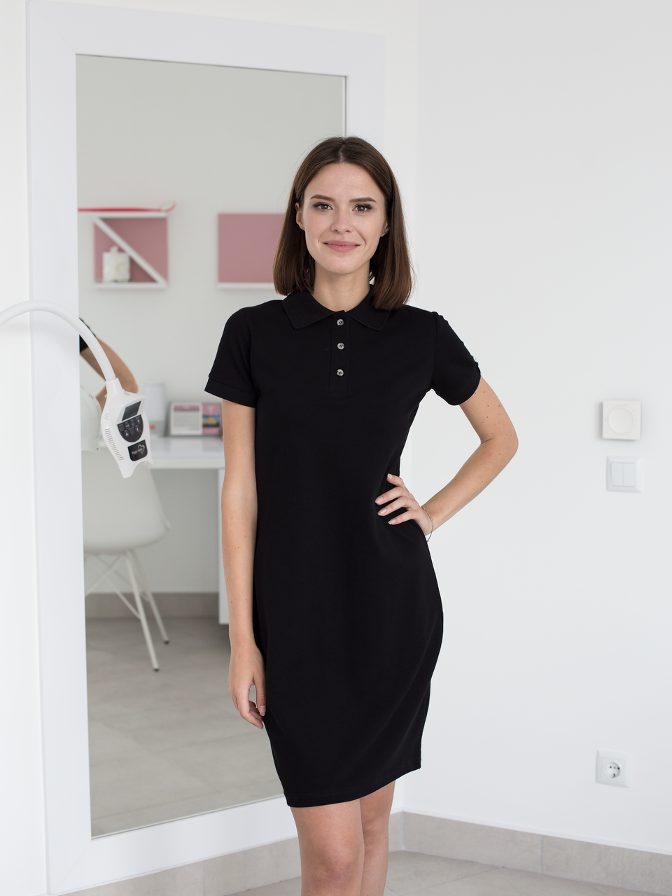 Медицинское платье-поло черное