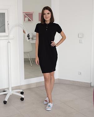 Медицинское платье-поло черное, фото 2
