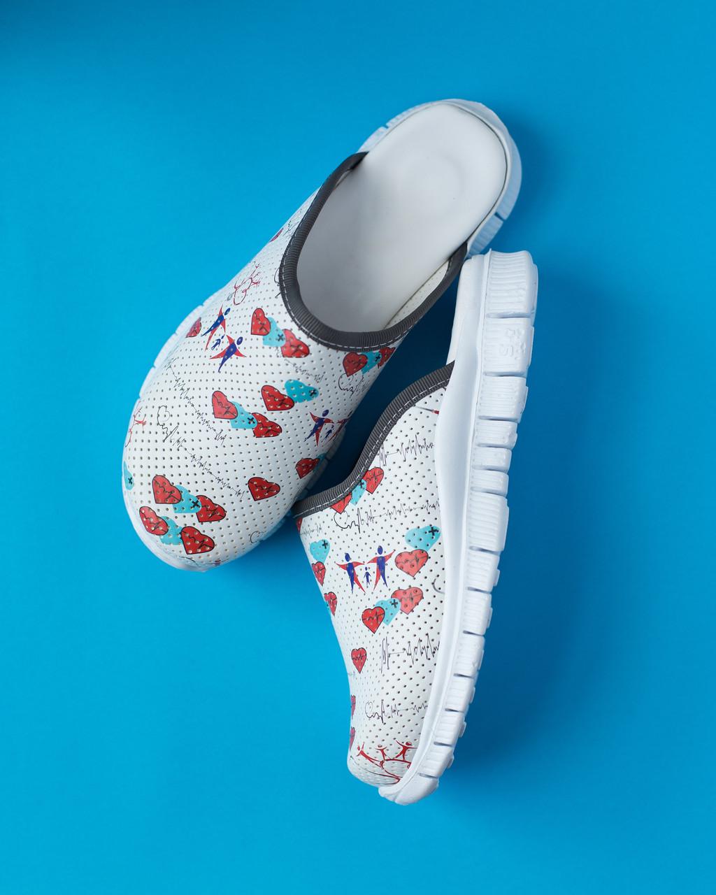 """Медицинская обувь сабо """"Heart white"""" с подошвой Lite"""