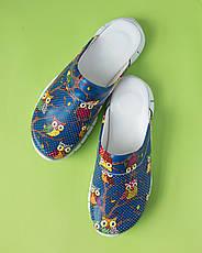 """Медицинская обувь сабо """"Совы синие"""" с подошвой Lite, фото 2"""