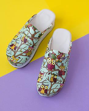 """Медицинская обувь сабо """"Совы зеленые"""" с подошвой AIR MAX, фото 2"""