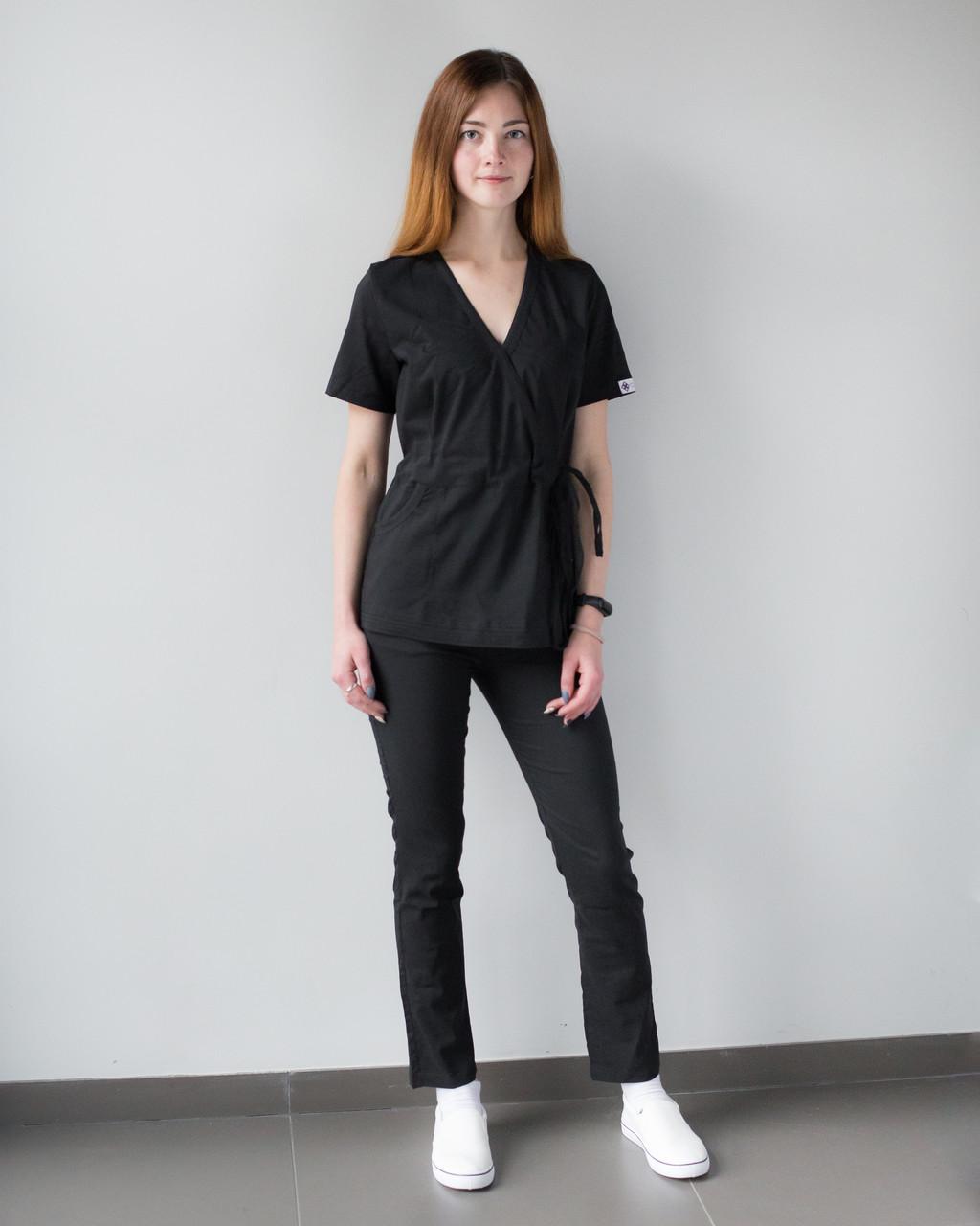 Медицинский костюм Рио черный, из тонкой ткани