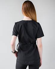 Медицинский костюм Рио черный, из тонкой ткани, фото 2