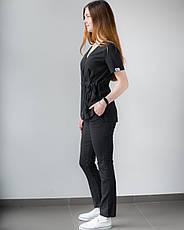 Медицинский костюм Рио черный, из тонкой ткани, фото 3