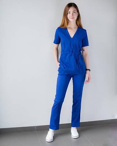 Медицинский костюм Рио электрик, из тонкой ткани, фото 2