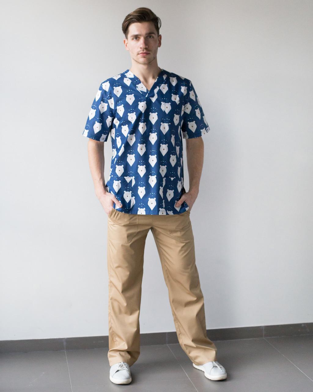 Медицинский мужской костюм Гранит принт мишки синие-песок