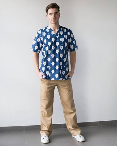 Медицинский мужской костюм Гранит принт мишки синие-песок, фото 2