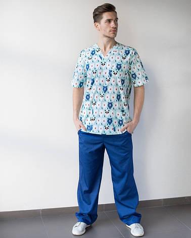 Медицинский мужской костюм Гранит принт мишки мята-синий, фото 2