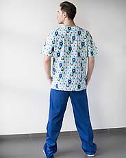Медицинский мужской костюм Гранит принт мишки мята-синий, фото 3