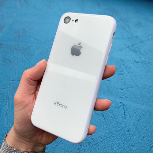 Чехол накладка на iPhone 7 / 8 Glass Silicone Case Logo  White (Белый)