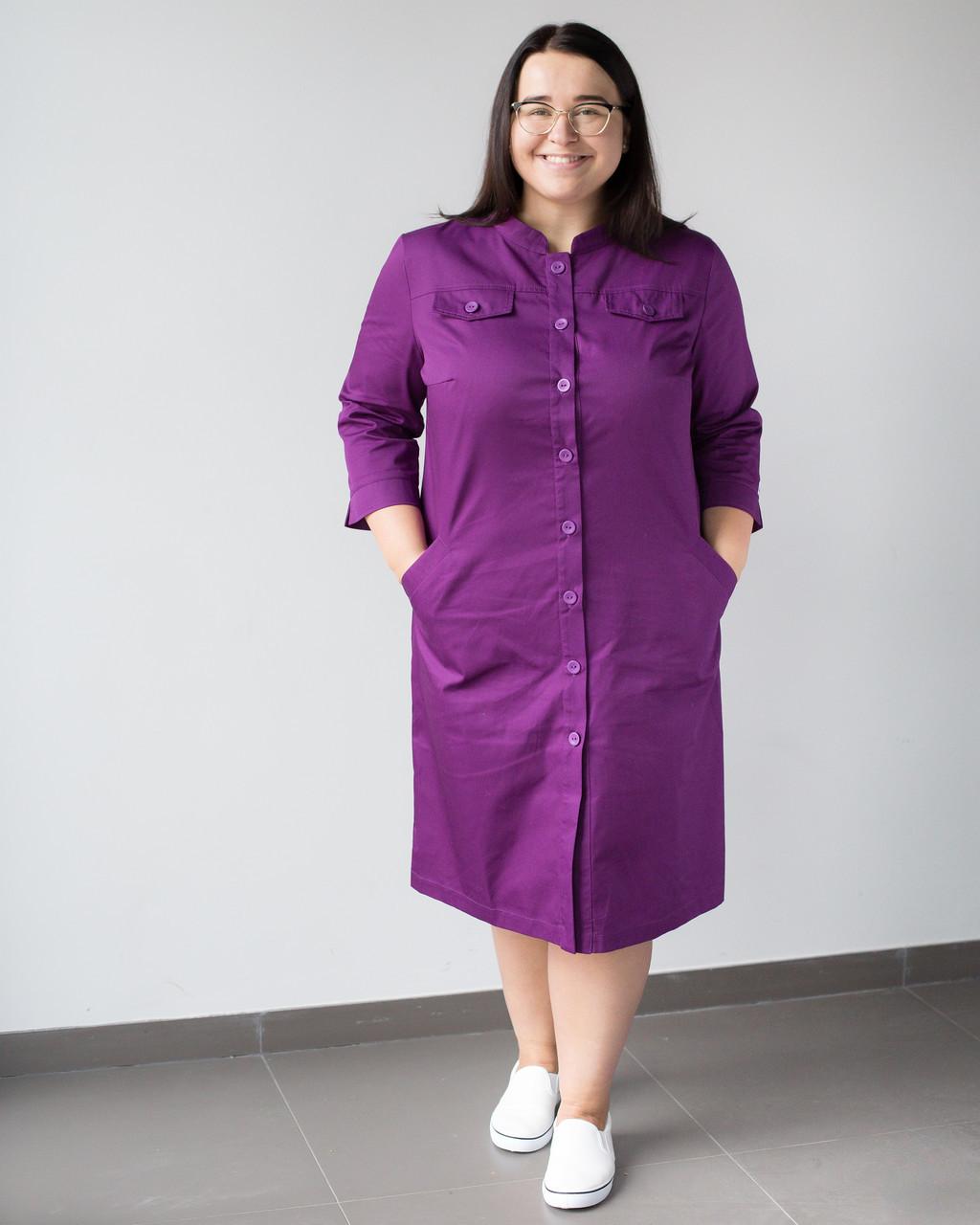 Медицинский женский халат Валери фиолетовый +SIZE