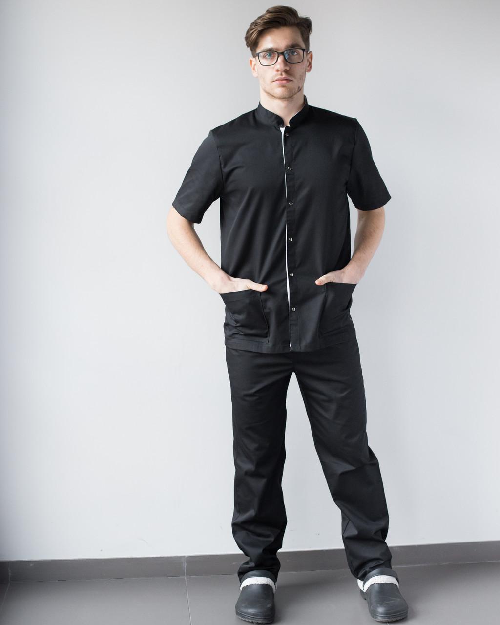 Медицинский костюм мужской Лондон черный-белый