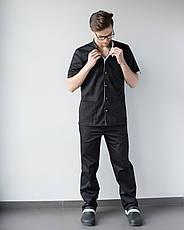Медицинский костюм мужской Лондон черный-белый, фото 3