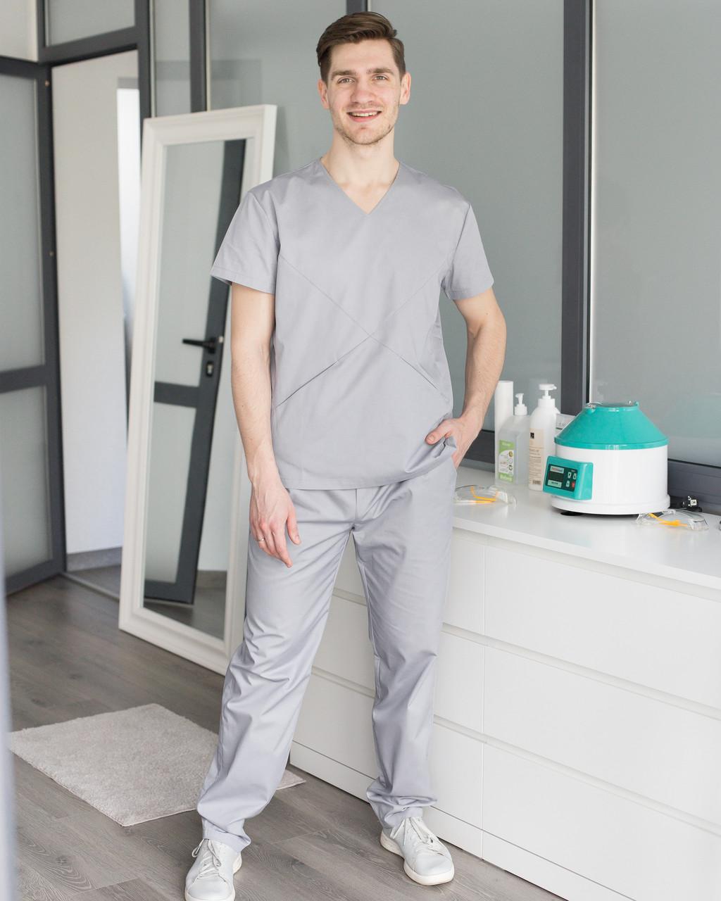 Медицинский мужской костюм Милан серый