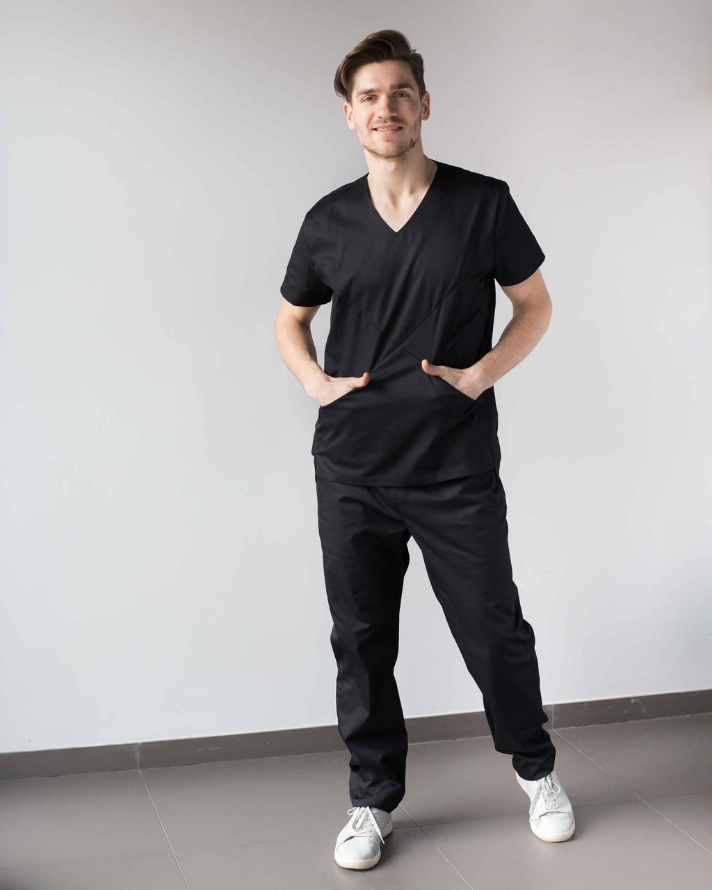 Медицинский мужской костюм Милан черный