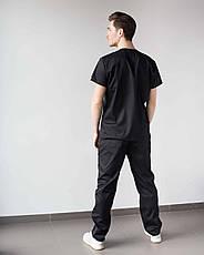 Медицинский мужской костюм Милан черный, фото 2