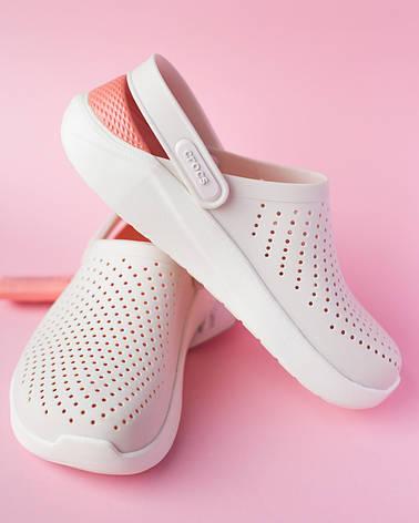 Крокси жіночі білий-персик Lite Ride, фото 2