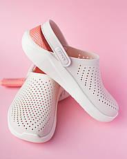 Крокси жіночі білий-персик Lite Ride, фото 3