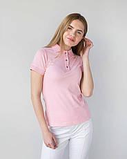 Медицинское поло женское розовое, фото 3