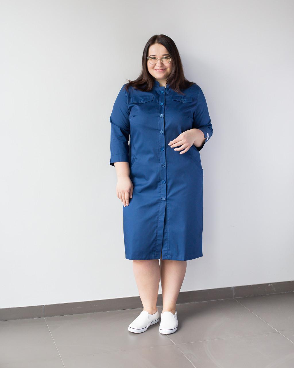 Медицинский женский халат Валери синий +SIZE