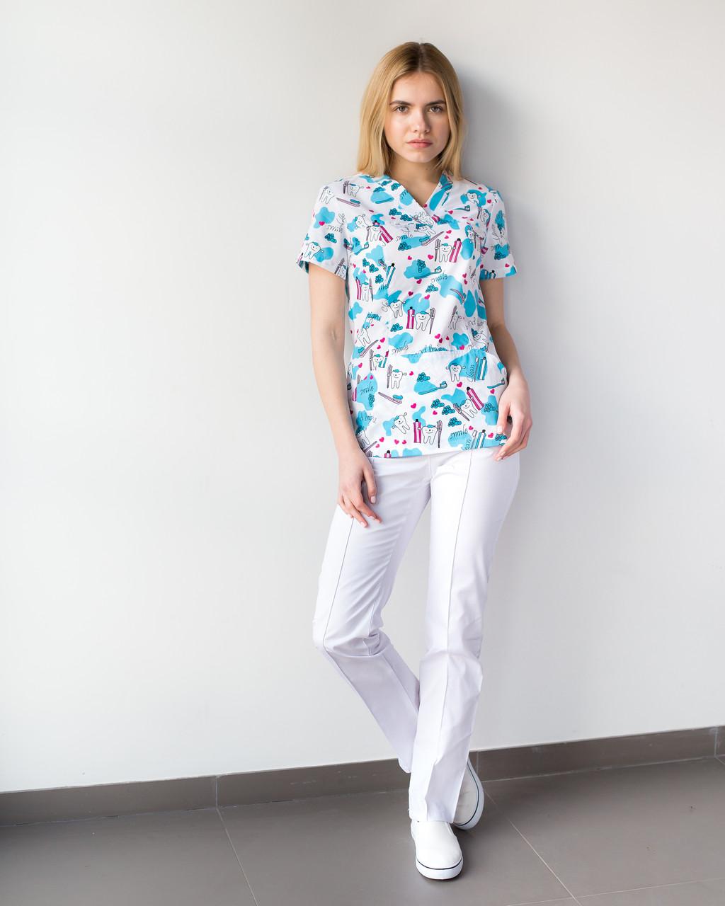 Медицинский женский костюм Топаз принт  Teeth smile