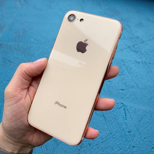 Чехол накладка на iPhone 7 / 8 Glass Silicone Case Logo  Rose (Розовый)