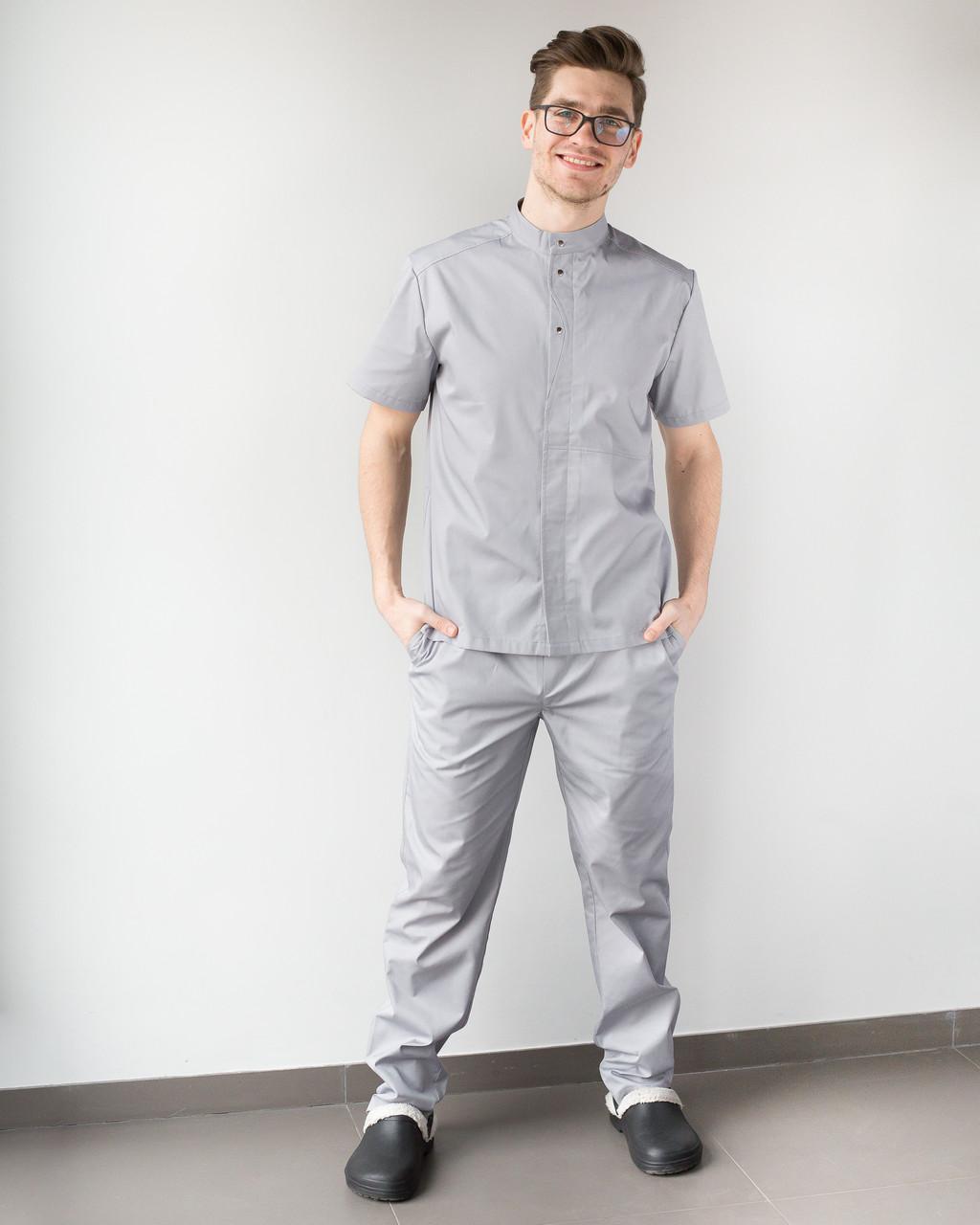 Медицинский мужской костюм Бостон серый