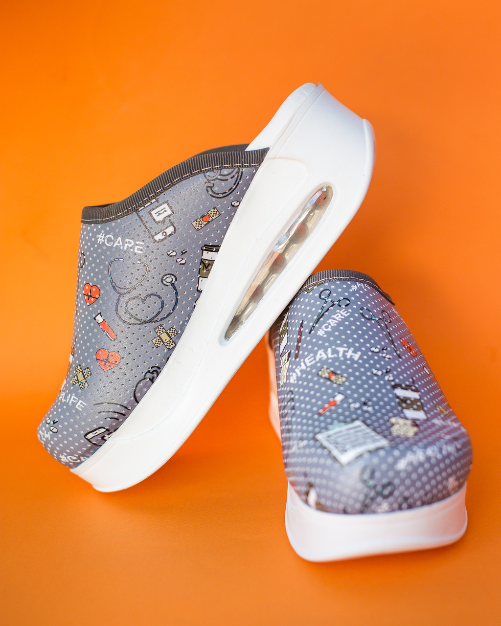 "Медицинская обувь сабо ""Health gray"" c подошвой AirMax"