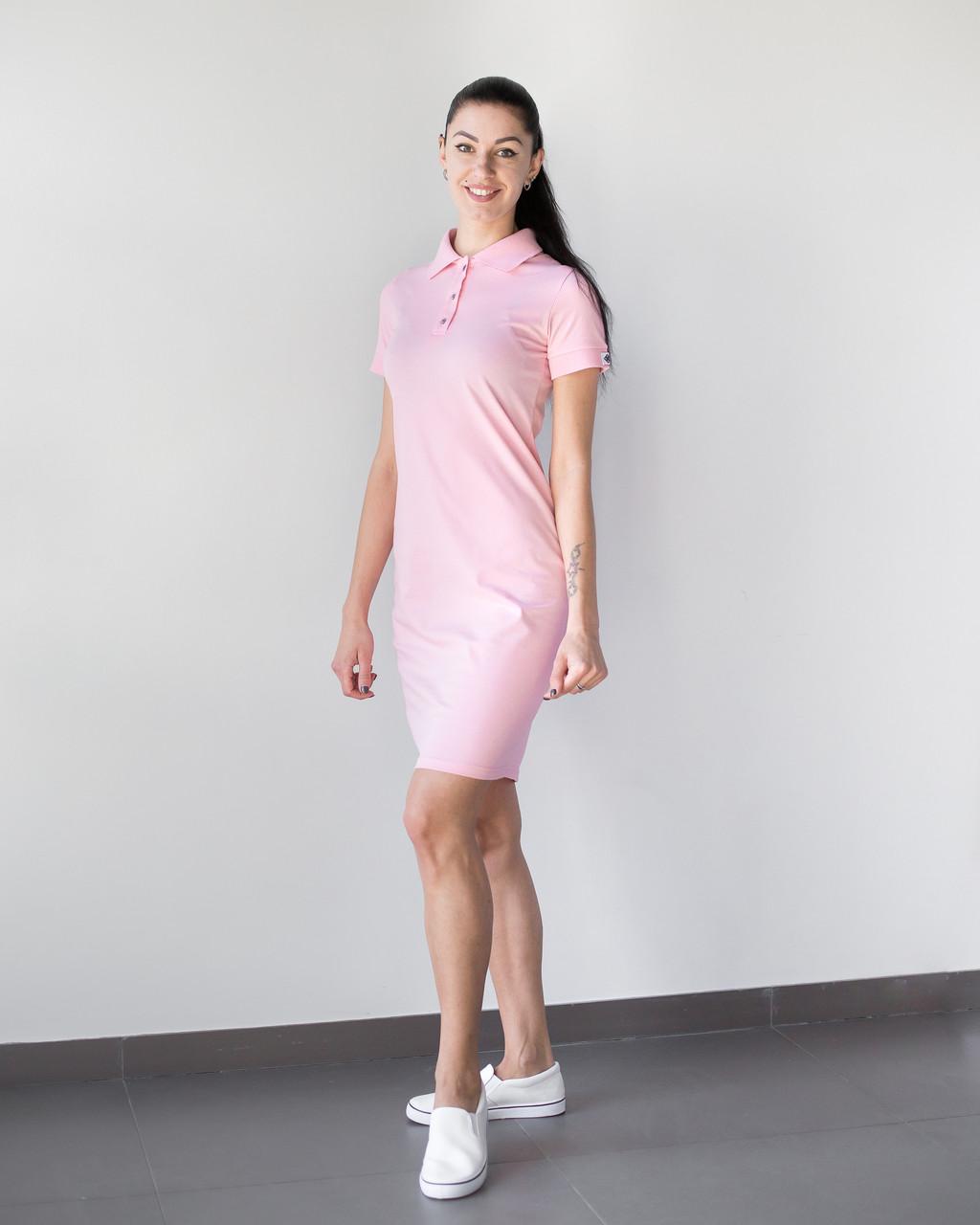 Медицинское платье-поло розовое