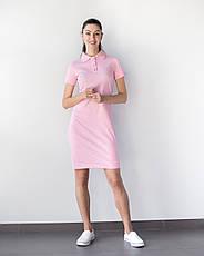 Медицинское платье-поло розовое, фото 3