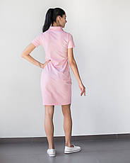 Медицинское платье-поло розовое, фото 2