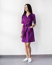 Медицинский женский халат Токио фиолетовый на пуговицах