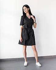 Медицинский женский халат Токио черный на пуговицах, фото 3