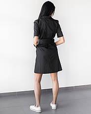 Медицинский женский халат Токио черный на пуговицах, фото 2
