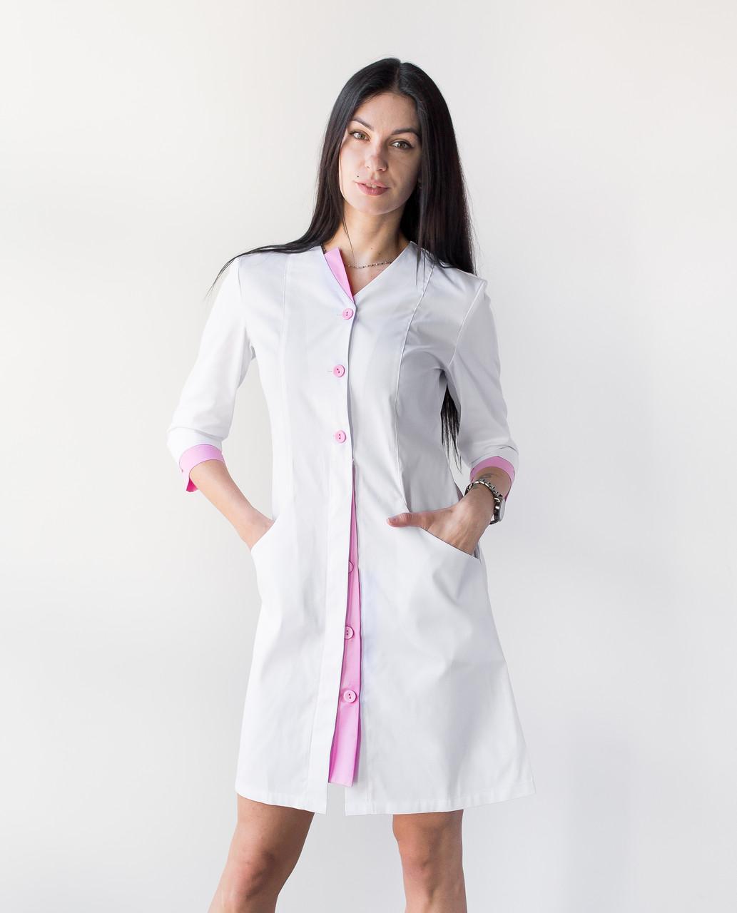 Медицинский халат Оливия белый-розовый на пуговицах