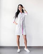 Медицинский халат Оливия белый-розовый на пуговицах, фото 2