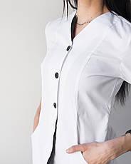 Медицинский халат Оливия белый-черный на пуговицах, фото 2