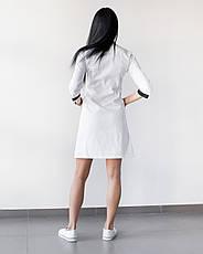 Медицинский халат Оливия белый-черный на пуговицах, фото 3